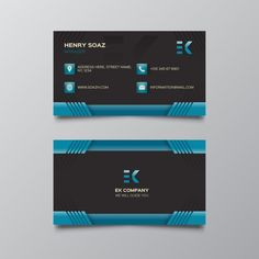 Free vector john doe business cards httpcgvectorfree black and dark blue business card reheart Image collections