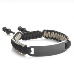 Black Drawstring Mens Engraved Bracelet Can Be Customized With Laser Engraving On Both Front And