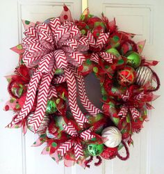 FALL SALE: Whimsical, Red, Lime Green & White Striped, Deco Mesh Christmas Wreath with a beautiful Red Chevron Christmas Tree or Wreath Bow Christmas Mesh Wreaths, Noel Christmas, Christmas Projects, Holiday Crafts, Christmas Decorations, Holiday Decor, Chevron Christmas, Winter Wreaths, Wreaths And Garlands