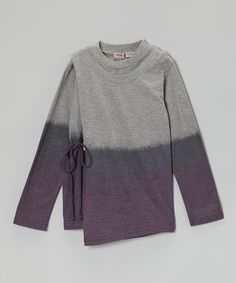 Take a look at this Gray & Purple Ombré Wrap Top - Toddler & Girls by Aioty on #zulily today!