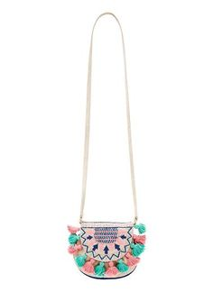 Girls folk purse with embroidered flap and tassels. Height 15cm, width 15cm.