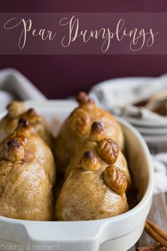 Soft baked pears encased in tender, buttery pastry, swimming in a sweet cinnamon sauce- these Pear Dumplings are fall comfort on a plate! Pear Recipes, Pastry Recipes, Best Dessert Recipes, Fruit Recipes, Fun Desserts, Fall Recipes, Sweet Recipes, Baking Recipes, Delicious Desserts