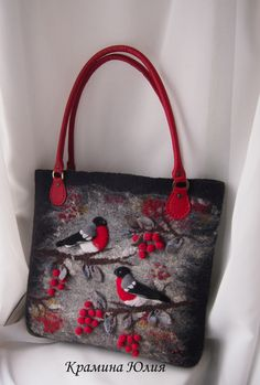 Felted bag-Felted handbag-Bullfinches-Felted wool purse-Felted purse-Art handbag-Natural Leather handles-Felt bag-Red,Black For other models, you can … Felt Purse, Felt Bags, Wool Felt, Felted Wool, Patchwork Bags, Patchwork Designs, Patchwork Patterns, Denim Bag, Simple Bags