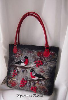 Felted handbag,Red,Black-Bullfinches-Felt bag from YuliasFeltworld by DaWanda.com