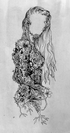 This image is an abstract illustration of a woman made out of flowers and vines. Kunst Tattoos, Tattoo Drawings, Tattoo Sketches, Art Tattoos, Tatoos, Artwork Drawings, Music Tattoos, Pencil Art Drawings, Nature Tattoos