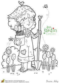 Dessin de la petite jardinière avec ses tulipes, à colorier