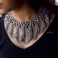 Silver beads weaved together to form the most exquisite design makes this neckpiece truly an extraordinary piece. By Ritika Sachdeva, available at Minerali. #minerali_store #neckpiece #silvertone #ritikasachdeva #silverrush #ghunghroos #golddetails #tassels #design #extraordinary #beads #silver #stunningsilver #designerjewellery #indiandesigner #exquisite #linkingroad #bandra #minerali