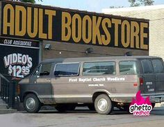 """Church field trip - """"Everyone back in the van by 1. We still have to stop at the liquor store before we go back to the church."""""""