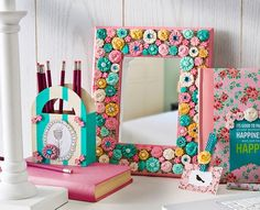 Want a cute frame that's not $20?  How to: Get a cheap frame (walmart or dollar store) and get cute little accessories (I.e. buttons, ribbons, stickers, beads, gems, etc.) and hot glue to the frame. You could also paint the frame or put fabric or wrapping paper over it.  Tip: If you use wrapping paper or fabric make sure not to have creases or bubbles in it.