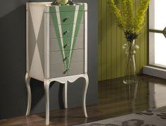 Mueble auxiliar 5 cajones joyero, acabado en cerezo francés y decorada a mano. Mod: LXLMM028