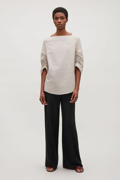 COS image 1 of Top with elastic drawstring sleeves in Sand