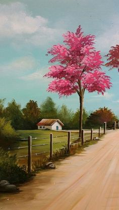 1001 + spring wallpaper images for your phone and desktop computer : spring background images, small house, painting of a rural landscape, pink blooming tree, next to a pathway Watercolor Landscape, Landscape Art, Landscape Paintings, Watercolor Art, Landscape Wallpaper, Spring Landscape, Landscape Architecture, Nature Paintings, Beautiful Paintings