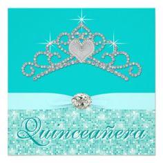 Teal Blue Diamond Tiara Teal Blue Quincenera Invites