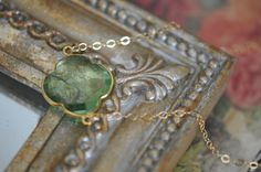 Green Amethyst Clover Pendant 14K Gold Necklace by LaceCharming