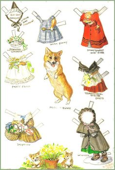 """If you love corgis and used book stores, then you should keep an eye out for books by Tasha Tudor. She was marvelous at capturing corgi mischief! This is her """"Miss Meggie"""" paper doll sheet."""