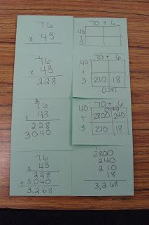 Showing students how standard multiplication works using area array models.