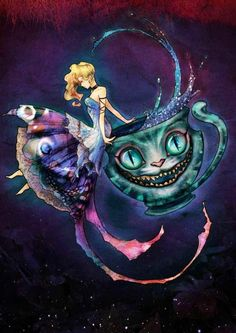 Alice in Wonderland and Cheshire Cat via www.Facebook.com/DisneylandForMisfits