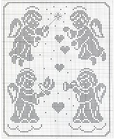 Although cross stitch, this would make a great filet crochet pattern.