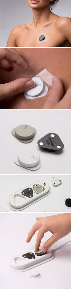 Literally the size of a quarter, the Dab is an unobtrusive Holter ECG/EKG that rests comfortably on your chest, constantly reading your heart's movements. Designed to be minimal, non-invasive, and simple, the Dab tries to bridge the gap between medical appliances and wearables. Its tiny yet classy design sits on your chest via a gel patch, while the electrodes capture your heart activity.