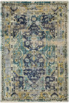 Festival hand-knotted wool area #rug from @suryasocial mixes navy, teal, wheat, taupe and white. #Nourishment #FirstLookLVMkt #LVMkt