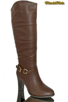 boots knee high chunky high heel block zip rubber sole Buckle Straps brown #supermode #KneeHighBoots #Casual