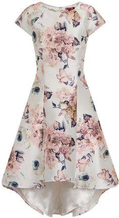 *Chi Chi London White Floral Print Dip Hem Skater Dress