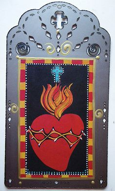 Sacred Heart Catholic Art Day of the Dead Wall Hanging Retablo Milagro Christina Miller Artist Heart Collage, Heart Art, Catholic Art, Religious Art, Christina Miller, Virgin Mary Art, Jesus Painting, Quirky Gifts, Mexican Folk Art