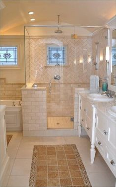 Hot and miss. Pretty bathroom. But there's no need for the tile rugs in front of…