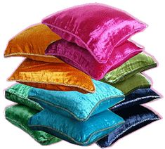 Jewel Tone Bedding | jewel tone Velvet Pillow Covers with Beaded Border
