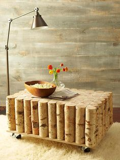 DIY Birch-Log Coffee Table