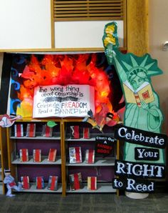 My favorite theme of the year: Banned Book Week (more like month at my library).  My displays are slowly taking over neighboring shelves and wall space...