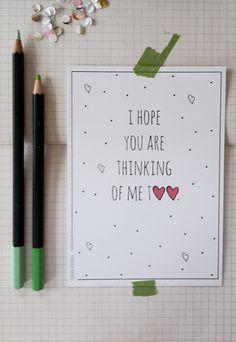 I hope you are thinking of me too. Ansichtkaart, paperlovers Flow (1,75 per stuk), door marloesbijlsma. Studio Do It Yourselves. Te koop in mijn Etsy shop of via info@doityourselves.nl