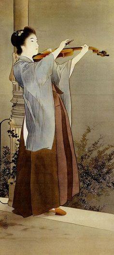 Kiyokata Kaburagi 鏑木清方 (1878-1972) — 「秋宵」 (280×622)