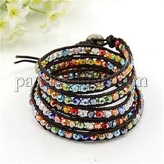 Wholesale Fashionable Wrap Around Bracelets, 5-Loop, Leather Cord with Faceted Glass Beads and Brass Clasps, 880x7mm(00A179) in bulk from China-PandaWhole.com