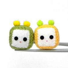 Amigurumi magnet  Green and Yellow Cubie MochiQties  by MochiQtie, $18.00