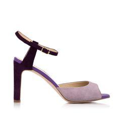 KACHOROVSKA / violet suede bicolor mid heel sandals
