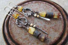 Raw Ambers.  artisan earrings raw Baltic Amber by beatnheart
