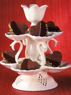 Chocolate Pistachio Heart Cookies