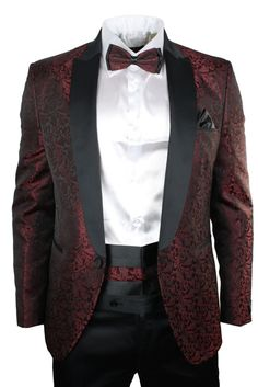 Mens Maroon Wine Black Paisley Pattern Suit Tuxedo Wedding Party Bow Tie Cumerband. #clothing #style #wedding #party #fashion #suit #menswear #bowtiesuit