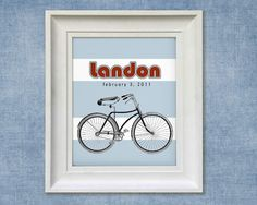 Childrens Art Print  Personalized Bicycle by SimplySublimeBaby.