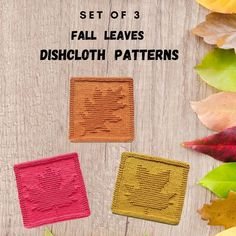 Knit Purl Stitches, Dishcloth Knitting Patterns, Knit Dishcloth, How To Purl Knit, Autumn Leaves, Crochet, Weaving, Crafty, Fall