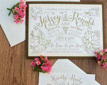 Garden Wedding Invitation, Gold Garden Wedding Invitation, Vintage Wedding Invitation, Modern Wedding Invitation, Vintage Gold Wedding