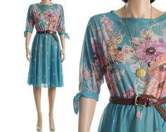 Vintage 70s Floral Dress - Sheer Teal High Waisted Boho Dress - M. $58.00, via Etsy.