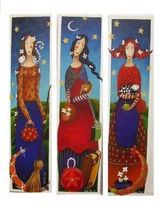 Mabon, Art Deco Illustration, Kunstjournal Inspiration, Art Journal Inspiration, Painting People, Painting On Wood, Yard Art Crafts, Ceramic Sculpture Figurative, Pintura Country