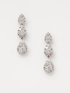 Vendoro Diamond triple teardrop earrings