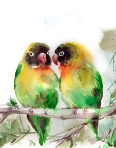 Love Birds Watercolor Painting Art Print by CanotStopPrints