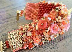 Spring Tangerine Embellished Beadwoven Bracelet by BUNNY123, $150.00