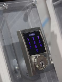 Schlage's touchscreen keypad lock can be locked and unlocked remotely with the app or Nexia's smart home hub #keypad #homesecurity #schlage
