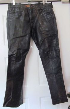 EAST WEST MUSICAL INSTRUMENTS VTG CUSTOM BLACK LEATHER JEANS - 32X28- RARE!