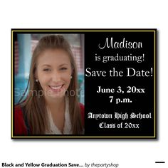 Black and Yellow Graduation Save the Date Card Postcard